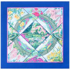 """HERMES c.1989 Lawrence Bourthoumieux """"Giverny"""" Blue Floral Print 100% Silk Scarf"""