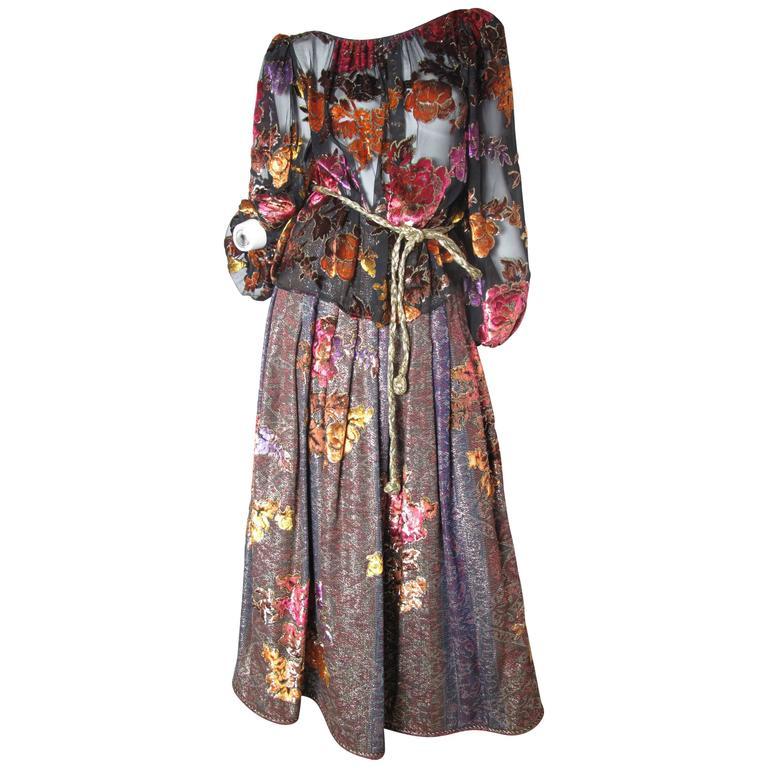 Oscar de la Renta Peasant Skirt and Top For Sale