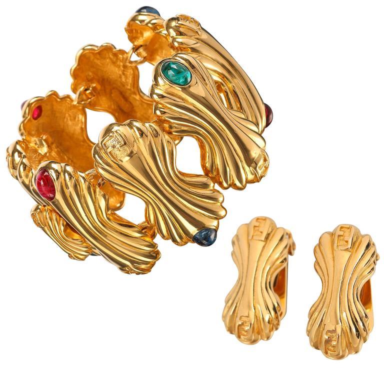 1ed8871fddf FENDI c.1980's Gold Statement Glass Cabochon Demi Parue Earring Bracelet  Set For Sale