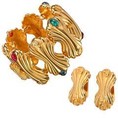 FENDI c.1980's Gold Statement Glass Cabochon Demi Parue Earring Bracelet Set