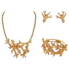 HATTIE CARNEGIE c.1960's Gold Crystal Branch Earrings Necklace Bracelet Parure