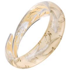 c.1930s-1940s Clear Plastic Lucite Reversed Handcarved Fish Bone Bangle Bracelet