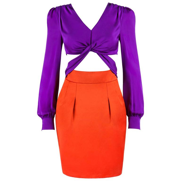 GUCCI S/S 2011 Purple Orange Color Block Knotted Midriff Cutout Cocktail Dress