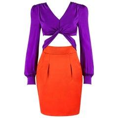 GUCCI S/S 2011 Purple Orange Color Block Knotted Midriff Cutout Cocktail Dress