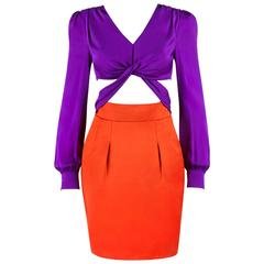 41c81833df GUCCI S S 2011 Purple Orange Color Block Knotted Midriff Cutout Cocktail  Dress