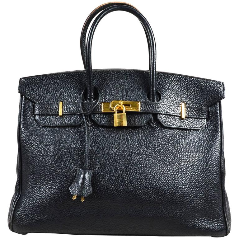 "Hermes Black Togo Leather Gold Plated Hardware ""Birkin"" 35 cm Bag 1"