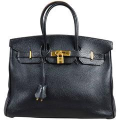 """Hermes Black Togo Leather Gold Plated Hardware """"Birkin"""" 35 cm Bag"""