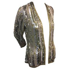 1970s Giorgio of Beverly Hills Silk Evening Jacket with Silver and Gold Sequins