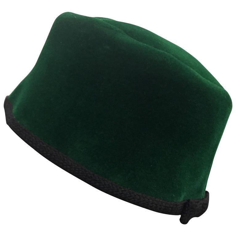 1960s Christian Dior Evergreen Velvet Felt Fez Style Hat W/ Knit Back Bow For Sale