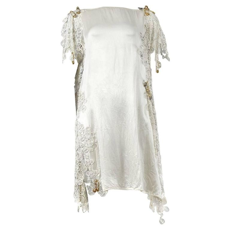 Versace White Lace Safety Pin Dress