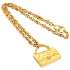 Vintage Chanel 2.55 Bag Motif Pendant Top Chain Necklace CC