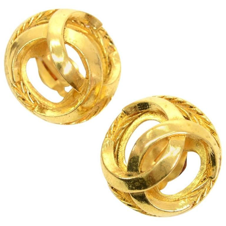 chanel gold tone cc logo large earrings for sale at