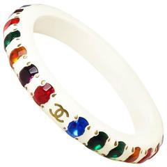 Vintage Chanel Color Stone Bangle Bracelet