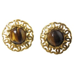 """1995 Chanel Tiger Eye Earrings """"CC"""""""