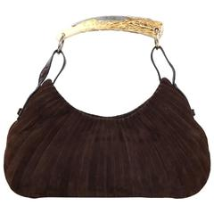 Yves Saint Laurent Brown Suede Mombasa Horn Bag