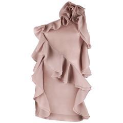 VALENTINO Spring 2010 Pale Mauve Pink Purple One Shoulder Ruffle Mini Dress