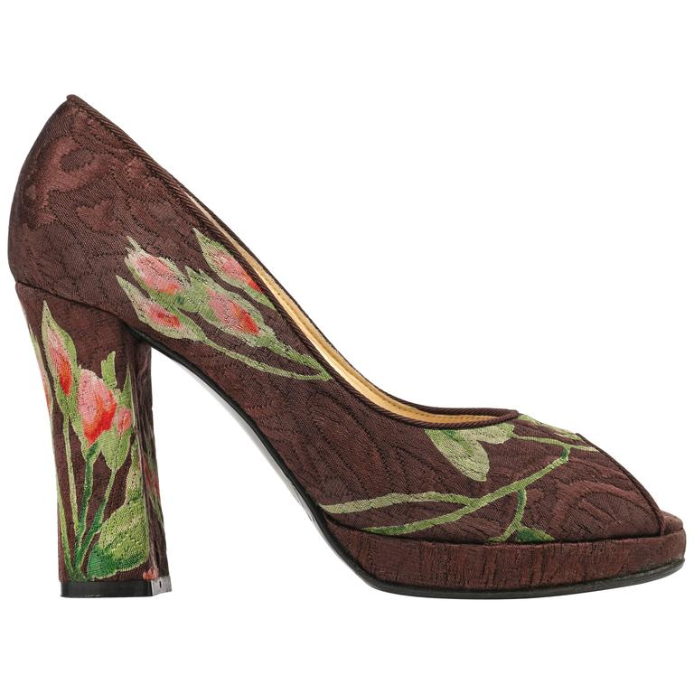 DOLCE & GABBANA Brown Floral Brocade Peep Toe Platform Pumps Heels Size 36 For Sale