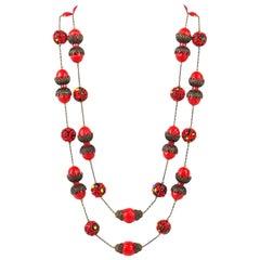 ALICE CAVINESS c.1940's Bronze Red Confetti Bead Double Chain Necklace