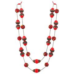 ALICE CAVINESS c.1940's's Bronze Red Confetti Bead Double Chain Necklace