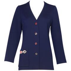 1970s Gucci Navy Wool Cardigan W/Enamel GG Logo Buttons & Woven Design on Pocket