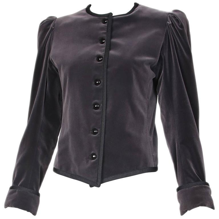1970's Yves Saint Laurent YSL Slate Grey Velvet Jacket W/Black Trim 1