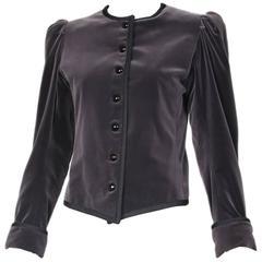 1970's Yves Saint Laurent YSL Slate Grey Velvet Jacket W/Black Trim