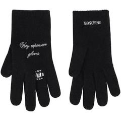 "MOSCHINO ""Very expensive gloves"" Black Rhinestone 100% Cashmere Gloves"