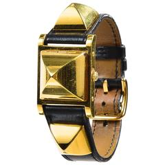 "Vintage Hermes Black Leather Gold Plated Steel ""Medor"" Studded Hidden Face Watch"