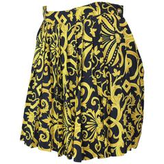 Gianni Versace  Vintage  Black and Yellow Pleated mini  Skirt