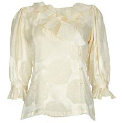 1980s Ungaro Couture Ivory Floral Pattern Silk Brocade Blouse