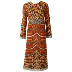 1970s Pirovano Italian Couture Embroidered Beadeds Dress