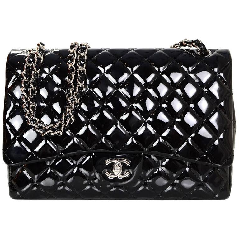 Chanel Black Patent Leather Single Flap Maxi Bag with SHW For Sale