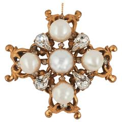 Beautiful handmade gilt, pearl and paste 'cruciform' brooch, Chanel, 1950s
