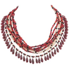 Wonderful poured glass and paste pearl multi row necklace, Maison Gripoix, 1950s