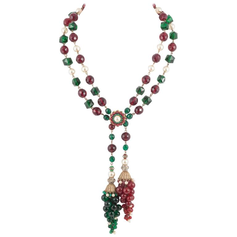 Exquisite Chanel handmade Moghul style necklace/sautoir by Maison Gripoix, 1930s For Sale