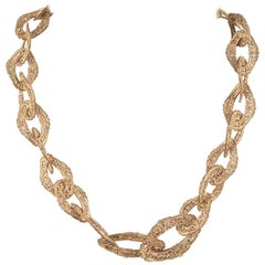 Chanel Antiqued gold filigree link chain necklace, 1960s