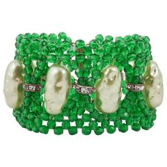 Woven green bead and baroque pearl bracelet, 1960s
