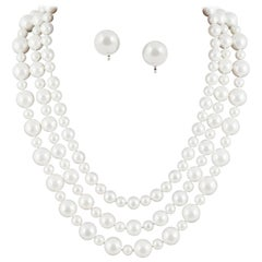 Classic 3 row pearl necklace, with matching drop earrings, 1990s
