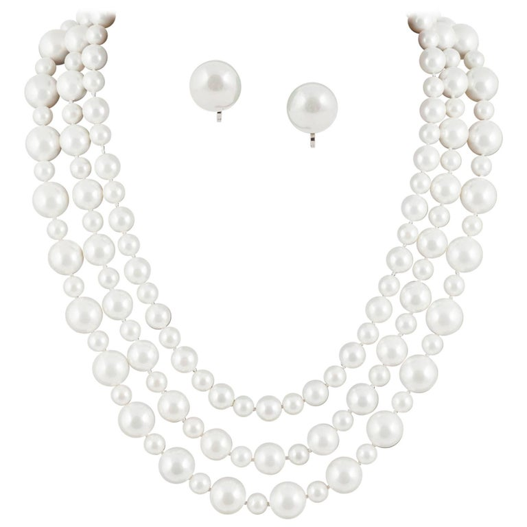 Classic 3 row pearl necklace, with matching drop earrings, 1990s For Sale