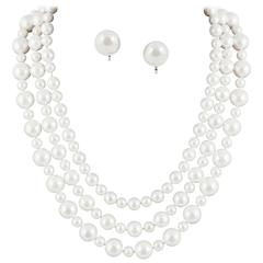 Classic 3 row pearl necklace, with matching earrings,1990s