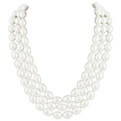 A beautiful three row lustre baroque pearl necklace, Maison Goossens, 1960s