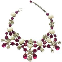 Fabulous deep pink and moonstone paste necklace, Christian Dior, 1950s
