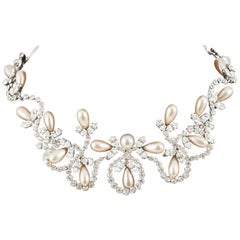 Elegant clear paste and pearl 'arabesque' necklace, Christian Dior, 1950s