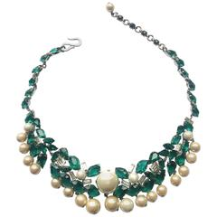 Exceptional emerald and clear paste, pearl necklace, Christian Dior , 1960