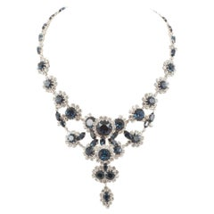 Dynamic sapphire and clear paste Austrian necklace, 1960s