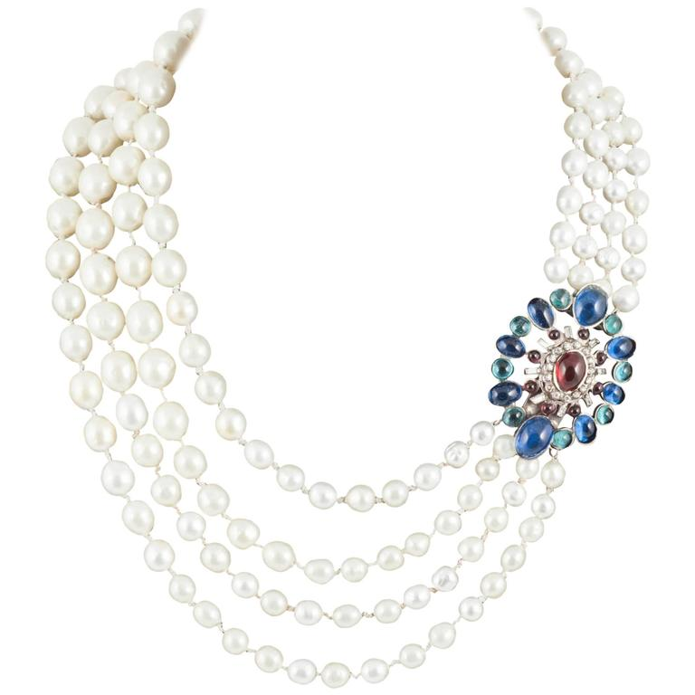 Multi Row Pearl Necklace: Chanel Multi Row Baroque Pearl Necklace, With Large Poured
