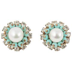Chanel turquoise paste and pearl cluster earrings, 1960s