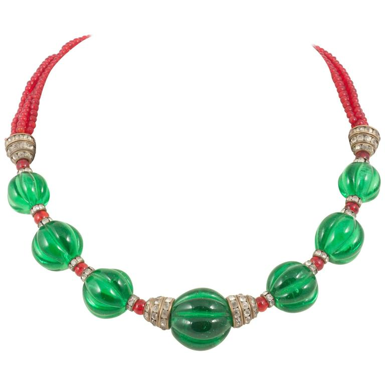 Chanel Moghul style emerald ruby glass necklace, 1930s For Sale