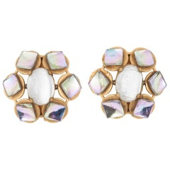 Large opalescent glass and gilt metal earrings, French, 1960s