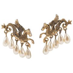 V rare 'hippocamp' gilt and drop pearl earrings, Christian Dior, 1950s